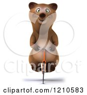 Clipart Of A Happy Brown Bear Riding A Bicycle Royalty Free CGI Illustration