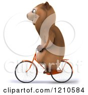 Clipart Of A Happy Brown Bear Riding A Bicycle 2 Royalty Free CGI Illustration