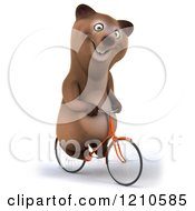 Clipart Of A Happy Brown Bear Riding A Bicycle 3 Royalty Free CGI Illustration