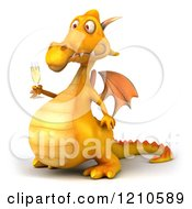 3d Yellow Dragon Holding A Glass Of Champagne 2