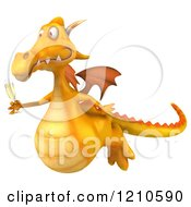 3d Yellow Dragon Flying With A Glass Of Champagne