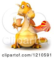 3d Yellow Dragon Holding A Glass Of Champagne And A Rocket