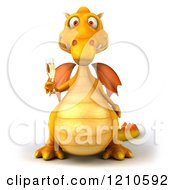 3d Yellow Dragon Holding A Glass Of Champagne