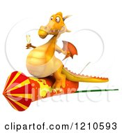 3d Yellow Dragon Holding A Glass Of Champagne And Riding A Rocket