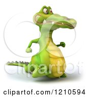 Clipart Of A 3d Crocodile Running 3 Royalty Free CGI Illustration