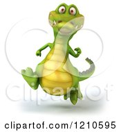 Clipart Of A 3d Crocodile Running 4 Royalty Free CGI Illustration