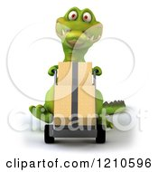 Clipart Of A 3d Crocodile Moving Boxes On A Dolly Royalty Free CGI Illustration
