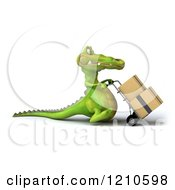 Clipart Of A 3d Crocodile Moving Boxes On A Dolly 3 Royalty Free CGI Illustration