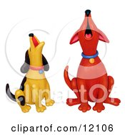 Red Dog And Yellow Dog Howling Together