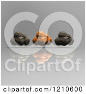Clipart Of 3d Black And Orange Geometric Clouds On Reflective Gray Royalty Free CGI Illustration