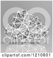 Clipart Of A 3d Wire Geometric Cloud On Reflective Gray Royalty Free CGI Illustration