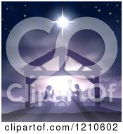Clipart Of A Purple Toned Nativity Scene With Baby Jesus In The Manger Under The Star Of Bethlehem Royalty Free Vector Illustration