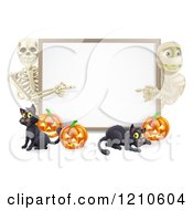 Cartoon Of A Happy Skeleton Mummy Pumpkins And Black Cat Around A Blank Sign Royalty Free Vector Clipart