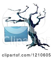 Clipart Of A Spooky Dead Tree And Blank Wooden Halloween Sign Royalty Free Vector Illustration by AtStockIllustration