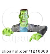 Cartoon Of A Happy Frankenstein Pointing Down To A Sign Royalty Free Vector Clipart by AtStockIllustration