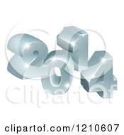 Clipart Of A 3d Silver Sparkly 2014 Royalty Free Vector Illustration
