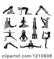 Clipart Of Black Silhouetted Women In Yoga Or Pilates Poses Royalty Free Vector Illustration