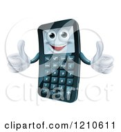 Cartoon Of A Happy Calculator Mascot Holding Two Thumbs Up Royalty Free Vector Clipart by AtStockIllustration