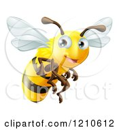 Cartoon Of A Cute Happy Bee Mascot Flying Royalty Free Vector Clipart by AtStockIllustration