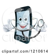 Cartoon Of A Happy Cell Phone Wearing A Stethoscope And Holding A Thumb Up Royalty Free Vector Clipart