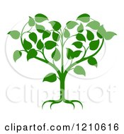 Clipart Of A Green Tree Forming A Heart Royalty Free Vector Illustration by AtStockIllustration