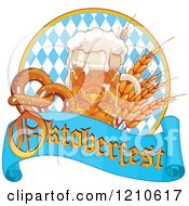 Beer Mug With Grains And Soft Pretzels Over An Oktoberfest Banner And Diamonds