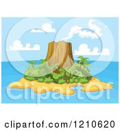 Clipart Of A Tropical Volcanic Island Royalty Free Vector Illustration by Pushkin