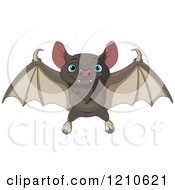 Cartoon Of A Cute Flying Bat With Blue Eyes Royalty Free Vector Clipart