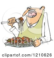Cartoon Of A Hungry Man Eating Spaghetti And Meatballs Royalty Free Clipart