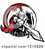 Clipart Of A Red And Black And White Knight Stabbing With A Sword Royalty Free Vector Illustration