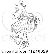 Cartoon Clipart Of An Outlined Alligator Dancing And Playing An Accordion Royalty Free Vector Illustration