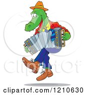 Alligator Dancing And Playing An Accordion
