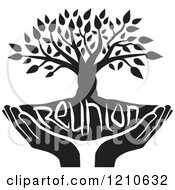 Clipart Of A Black And White Family Reunion Tree And Uplifted Hands Royalty Free Vector Illustration by Johnny Sajem