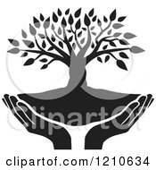 Clipart Of A Black And White Tree And Uplifted Hands Royalty Free Vector Illustration