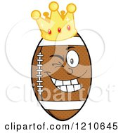 Cartoon Of A Winking Crowned American Football Mascot Royalty Free Vector Clipart