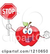 Cartoon Of A Red Apple Mascot Holding A Stop Sign Royalty Free Vector Clipart
