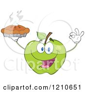 Cartoon Of A Green Apple Mascot Holding A Fresh Hot Pie Royalty Free Vector Clipart
