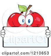 Cartoon Of A Red Apple Mascot Holding A Sign 3 Royalty Free Vector Clipart by Hit Toon