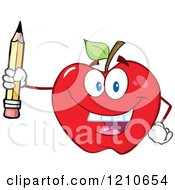 Cartoon Of A Red Apple Mascot Holding Up A Pencil Royalty Free Vector Clipart by Hit Toon