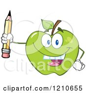 Cartoon Of A Green Apple Mascot Holding Up A Pencil Royalty Free Vector Clipart by Hit Toon
