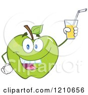Cartoon Of A Green Apple Mascot Holding Up Juice Royalty Free Vector Clipart by Hit Toon