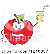 Cartoon Of A Red Apple Mascot Holding Up Juice Royalty Free Vector Clipart