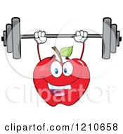 Cartoon Of A Strong Red Apple Mascot Lifting A Barbell Royalty Free Vector Clipart
