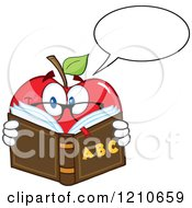 Cartoon Of A Talking Red Apple Mascot With Glasses Reading An Alphabet Book Royalty Free Vector Clipart