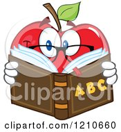 Cartoon Of A Red Apple Mascot With Glasses Reading An Alphabet Book Royalty Free Vector Clipart by Hit Toon