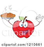 Cartoon Of A Red Apple Mascot Holding A Fresh Hot Pie Royalty Free Vector Clipart