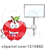 Cartoon Of A Red Apple Mascot Holding A Sign 2 Royalty Free Vector Clipart