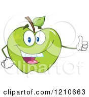 Cartoon Of A Green Apple Mascot Holding A Thumb Up Royalty Free Vector Clipart by Hit Toon