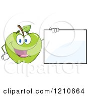 Cartoon Of A Green Apple Mascot Holding A Sign Royalty Free Vector Clipart