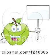 Cartoon Of A Green Apple Mascot Holding A Sign 2 Royalty Free Vector Clipart